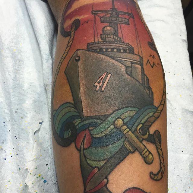US Navy Calf Tatttoo