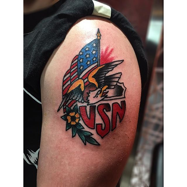 USN Left Shoulder Tattoo