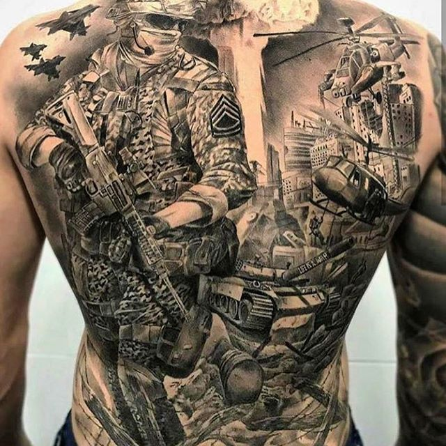 Full Back Combat Tattoo