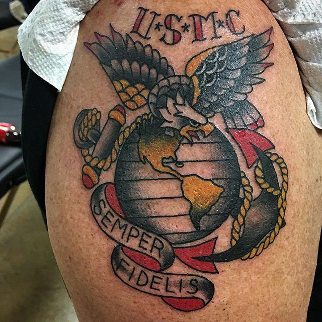 United States Marine Corp Shoulder Tattoo