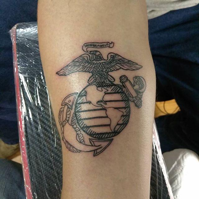 US Marines Forearm Tattoo