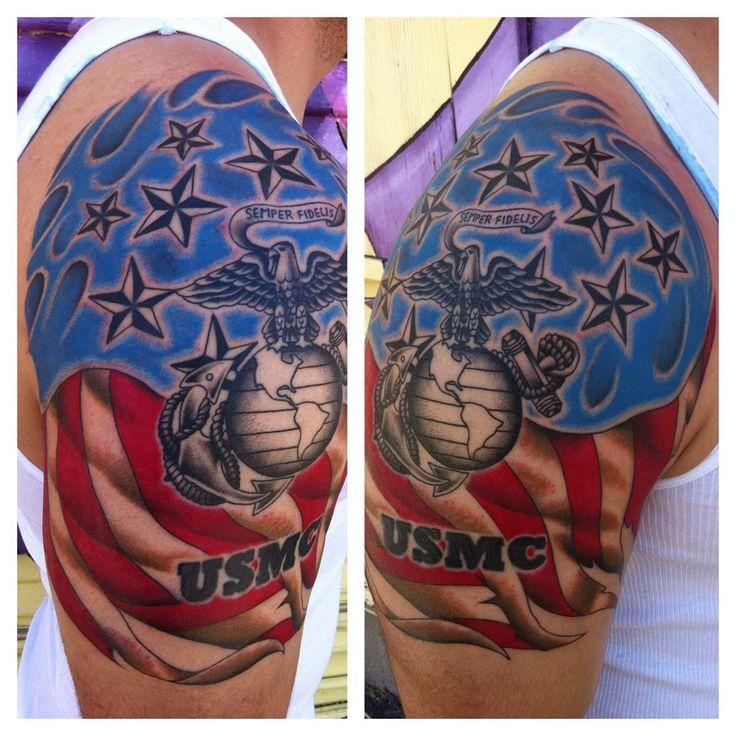 USMC Colored Shoulder Tattoo