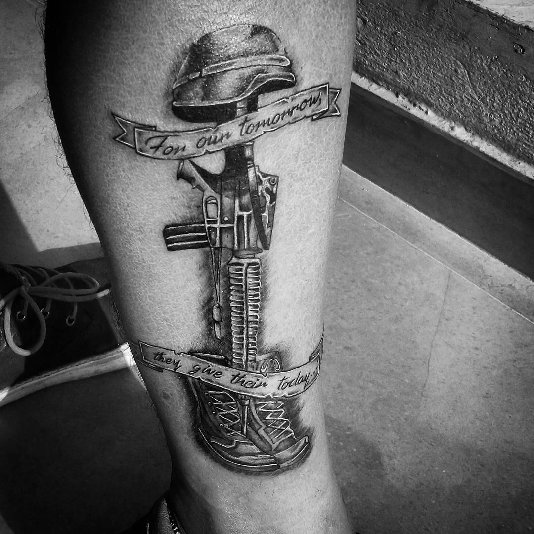 Black & White Fallen Soldier Tattoo