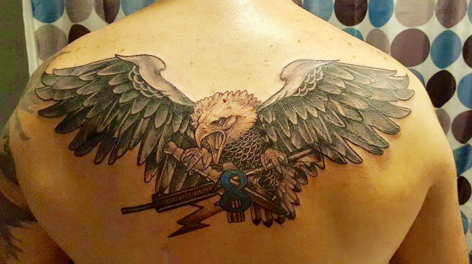 Veteran Chase Army Back Tattoo