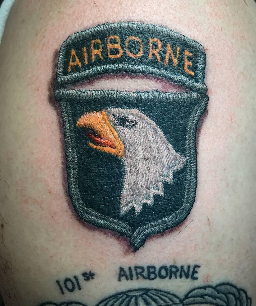 Realistic Airborne Shoulder Tattoo