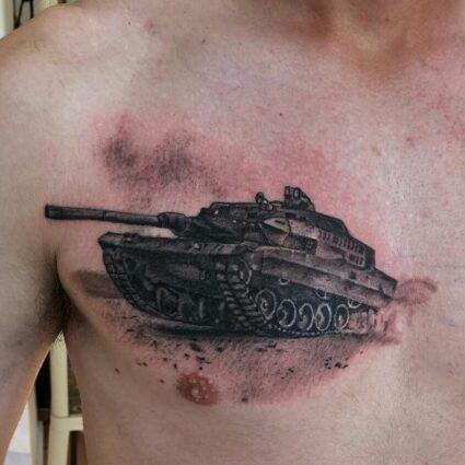 Military Tank Chest Tattoo