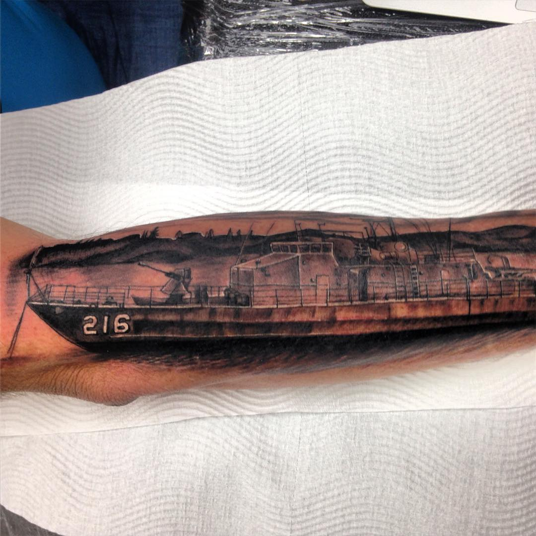 Navy Ship Arm Tattoo