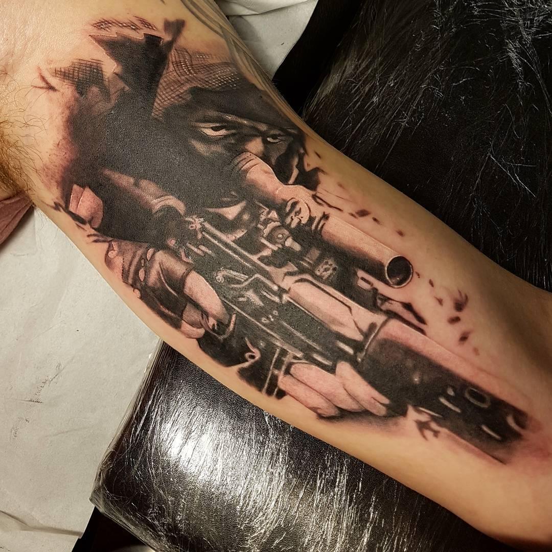 Sniper Arm Sleeve Tattoo