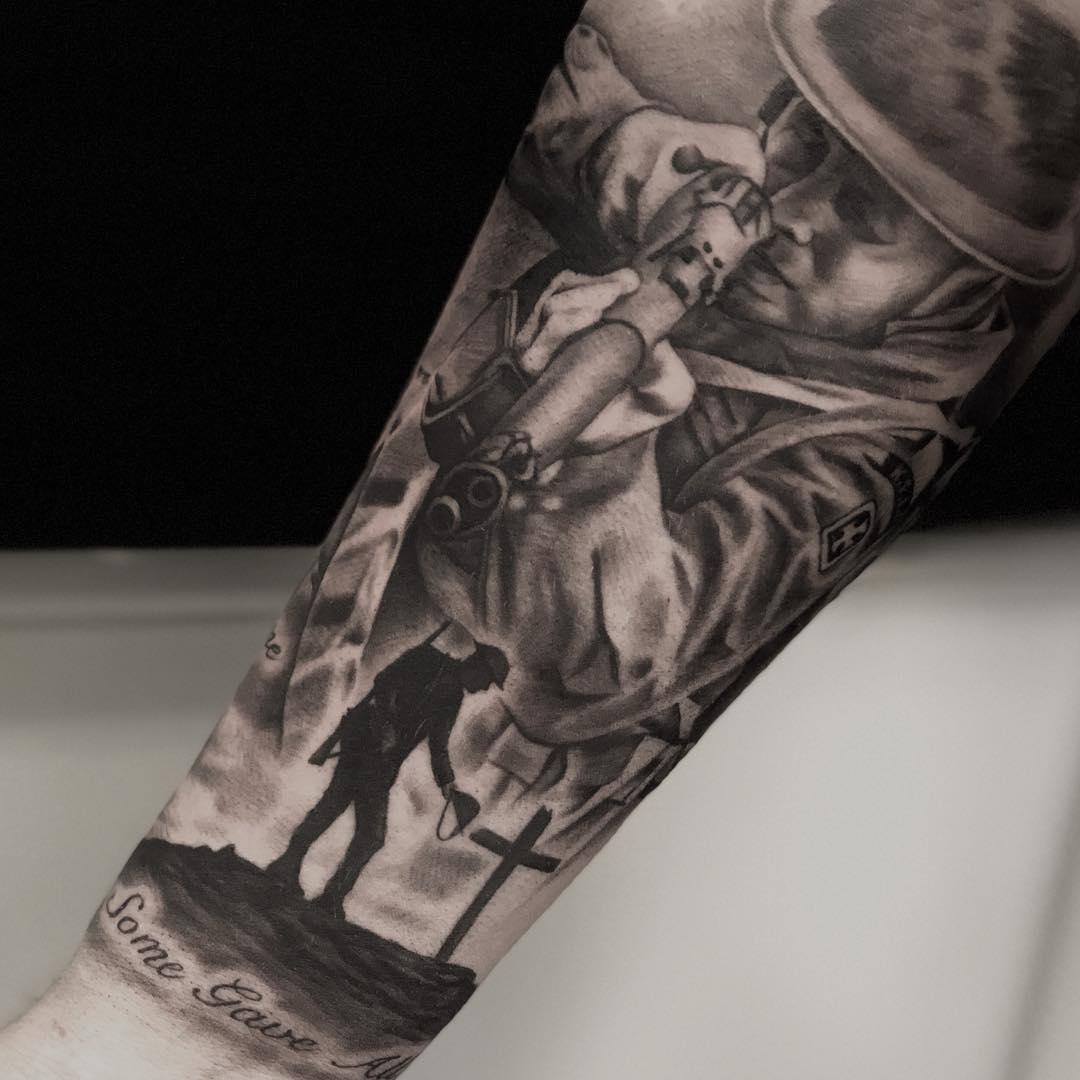 Armed Soldier Cross Tattoo