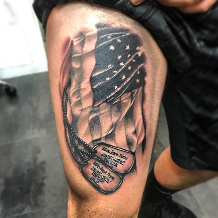 Dog Tags Flag Tattoo