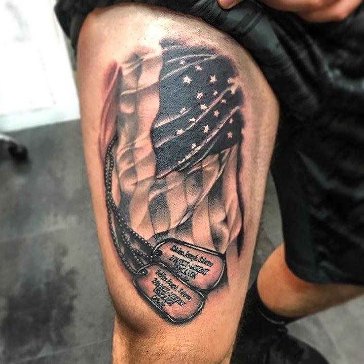 Dog Tags Flag Tattoo