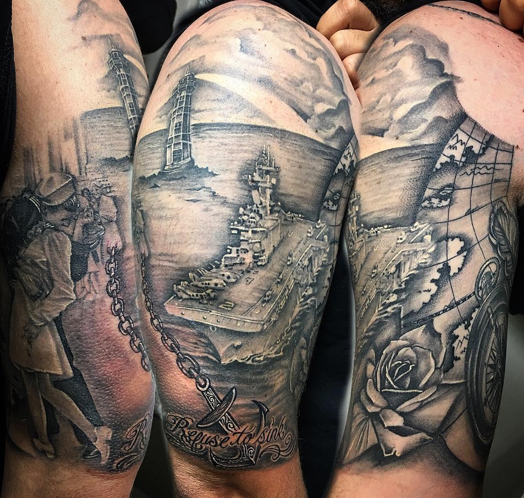 Navy Globe Tattoo