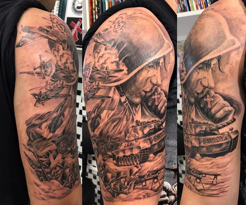 Combat War Arm Tattoo