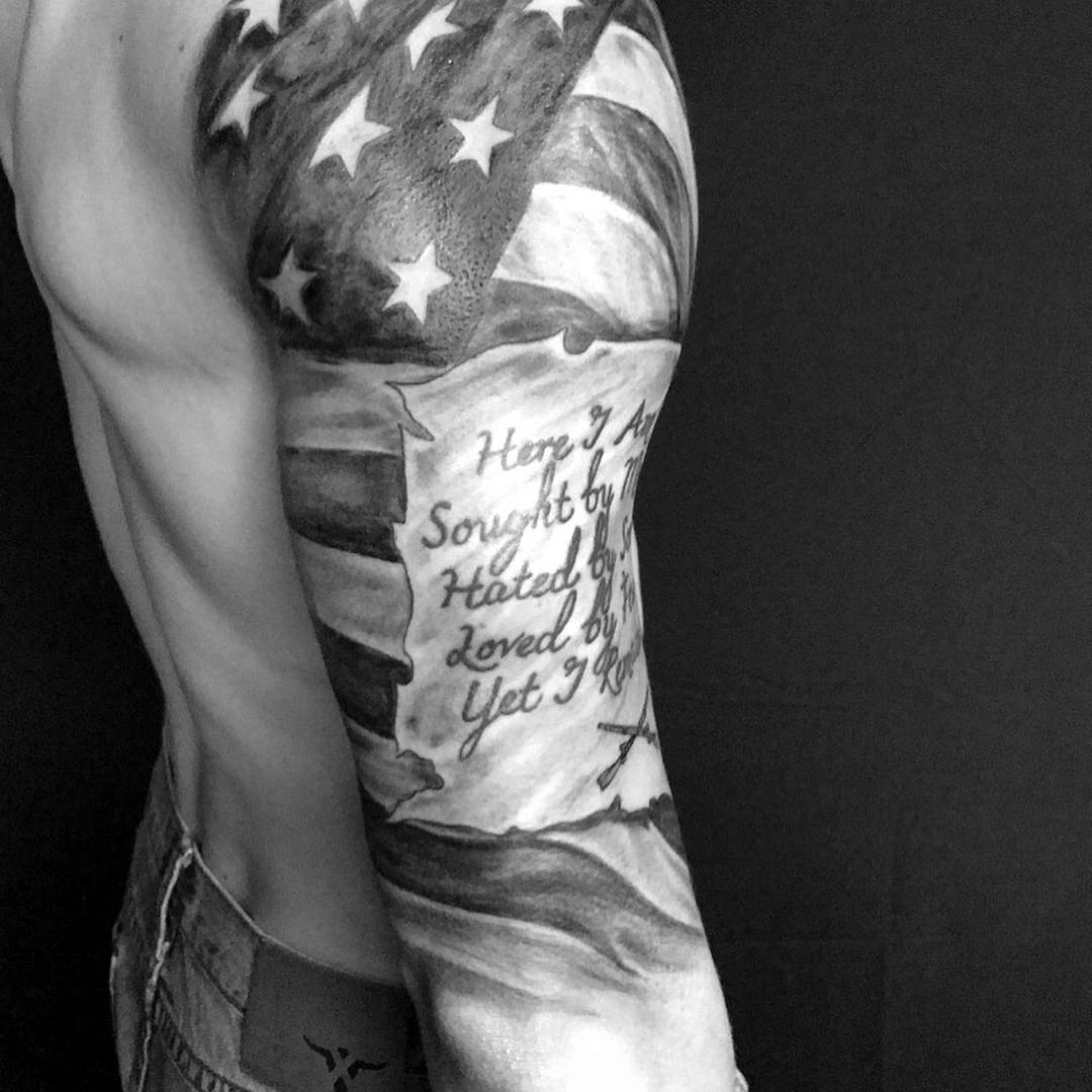 Flag Arm Wrap Tattoo