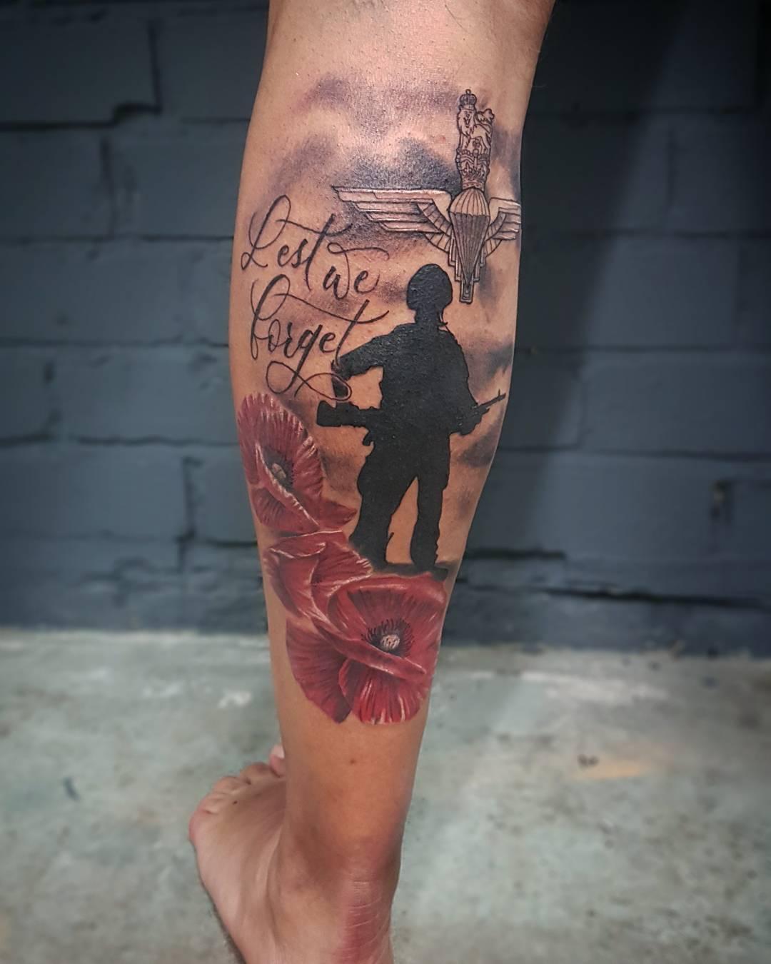 Lest We Forget Leg Tattoo