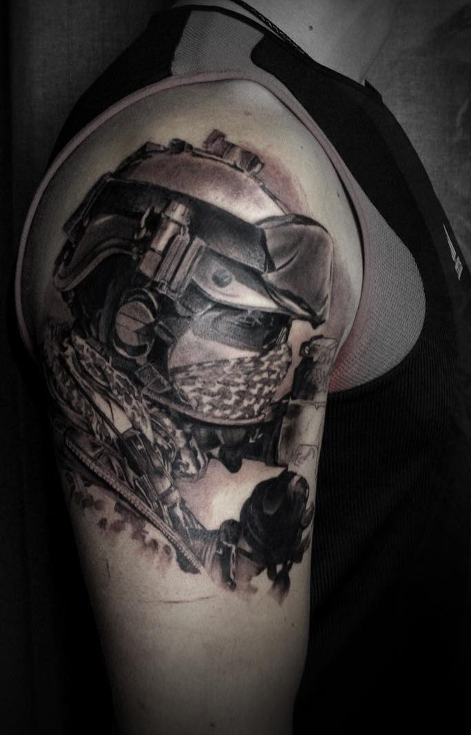 Military Recon Bicep Tattoo