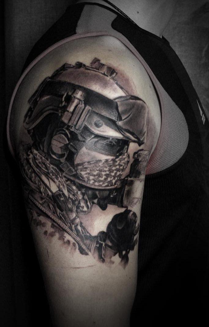 Military Recon Bicep Tattoo