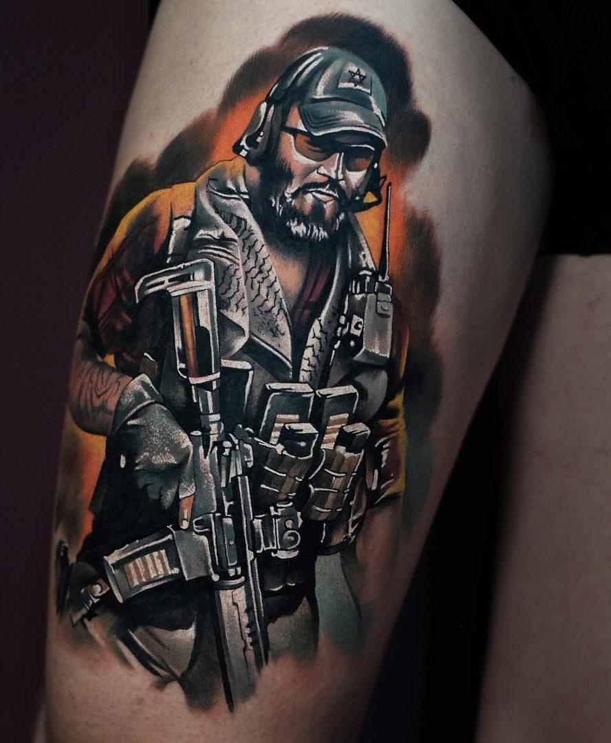 Recon Shooter Leg Tattoo