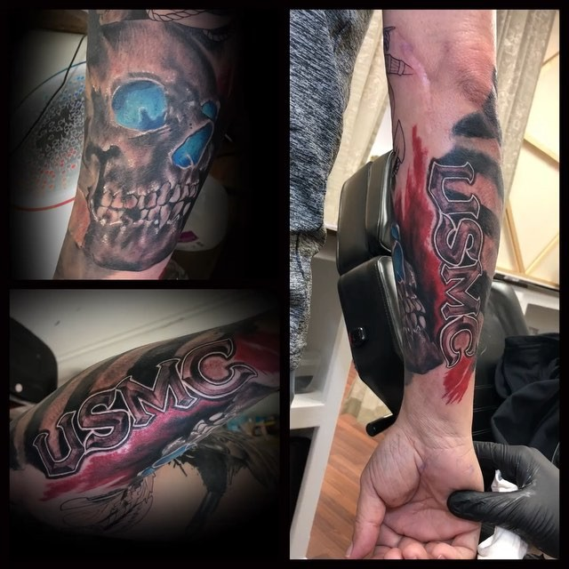 USMC Skull Arm Tattoo
