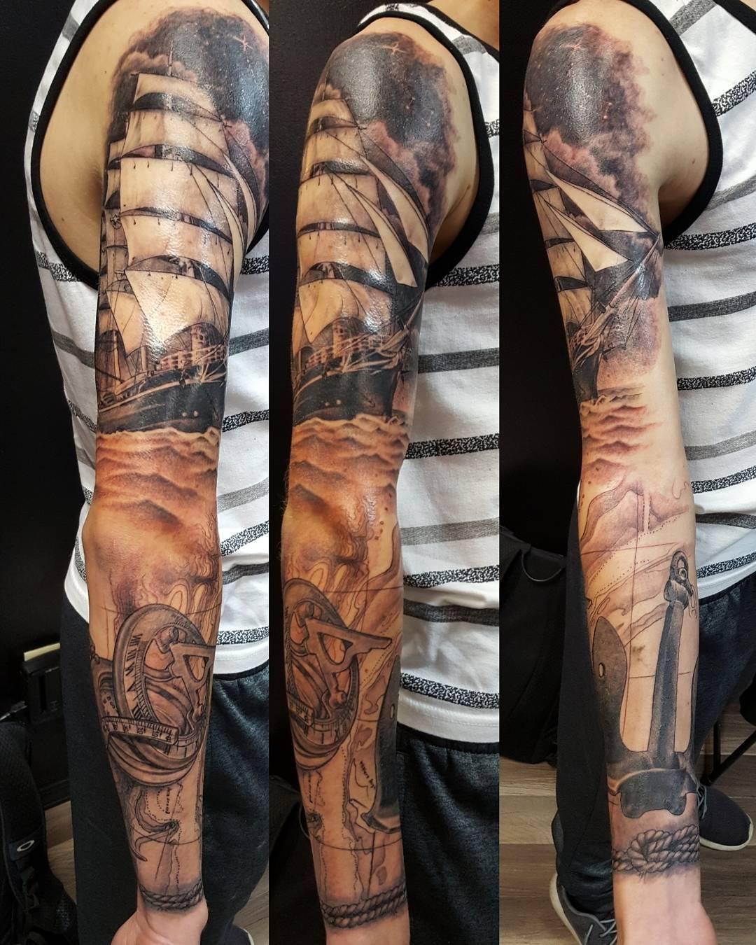USN Full Sleeve Tattoo