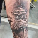 USN Ship Arm Tattoo
