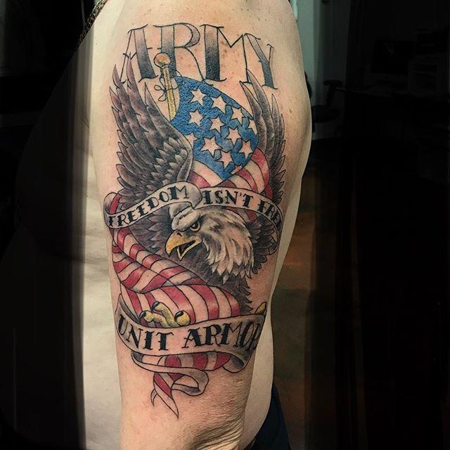 Army Eagle Freedom Tattoo