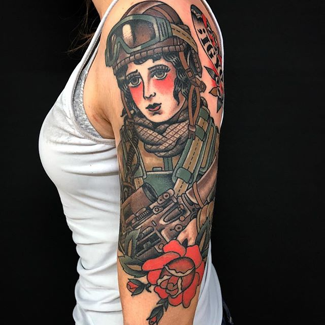 Female Veteran Sleeve Tattoo